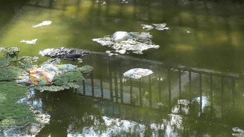 Contaminación del agua con suciedad y basura plástica.