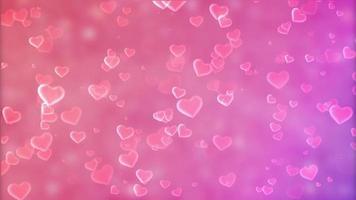 adoráveis corações aparecendo e desaparecendo em um fundo rosa