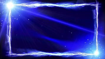 een bliksemframe van licht op een donkerblauwe achtergrond