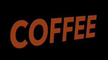 a palavra café com tipografia marrom e distorção video