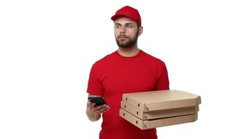 Delivery man in a red uniform