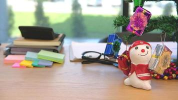 Christmas decorations on an office desk video