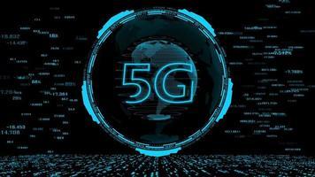 hud a tecnologia 5g e o fundo da tecnologia cibernética de dados digitais mundiais.