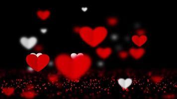 belos corações de papel branco e vermelho flutuantes 3d rendem. video