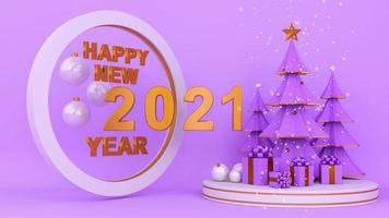 Happy new year two thousand twenty-one on purple background and pine trees. video
