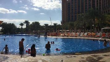 Families and Children Playing in Resort Pool 4K video