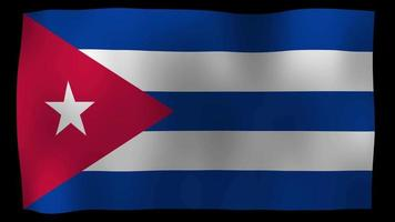 video de stock de bucle de movimiento 4k de bandera de cuba