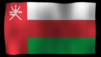 Bucle de movimiento de 4k de bandera de Omán stock video
