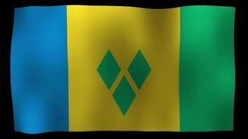 San Vicente y las Granadinas bandera 4k movimiento lazo stock video