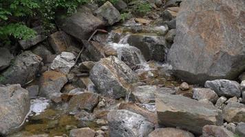 água fluindo entre rochas 4k video