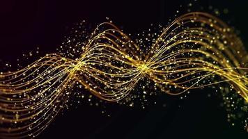 onde ondulate dorate in movimento con particelle morbide su sfondo scuro
