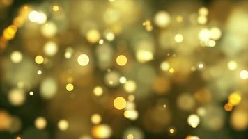 Luzes douradas do bokeh diminuindo e se movendo lentamente em um fundo quente