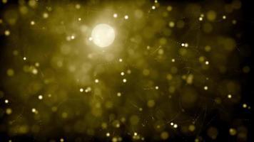 luces doradas suaves con camino flotando sobre fondo oscuro 4k