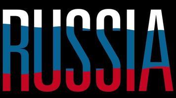 Flagge Russlands mit Typmaske im Vordergrund. Russland.