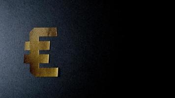 Stop motion euro y yen papel dorado sobre fondo oscuro