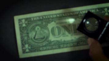 Dollar Bill Details From Eagle To Eye On Dark Background video