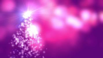 Les lumières des étoiles de flocons de neige convergent vers l'arbre de Noël avec fond rose bokeh