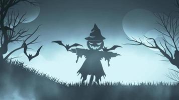 animazione di sfondo di Halloween con il concep di spaventapasseri spettrale e pipistrelli sfondo nebbioso blu