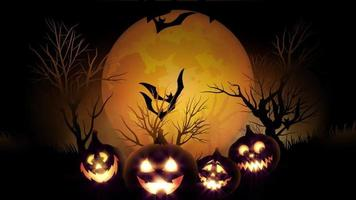 animation of spooky Jack-o-lantern Halloween pumpkins with flying bats with yellow background