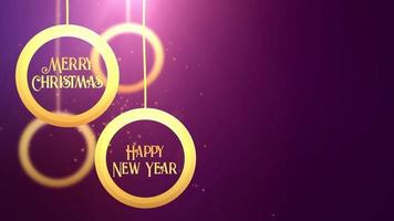 Golden moving bauble ball falling down Merry Christmas Happy New year festive seasonal celebration placeholder purple background video