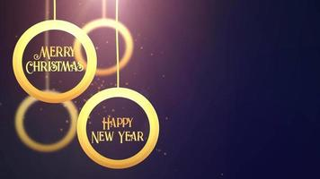 Golden moving bauble ball falling down Merry Christmas Happy New year festive seasonal celebration placeholder blue background