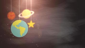 flat design planets falling down hanging on string black background star earth saturn video