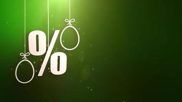 símbolos de porcentagem com símbolos de Páscoa pendurados em cordas e queda do teto oferta de compras