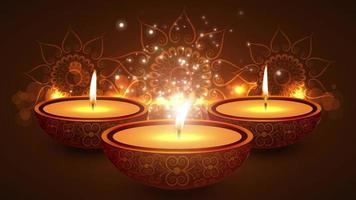 templo indiano de diwali feliz em um festival religioso de diwali. animação lâmpada a óleo com fundo bokeh quente