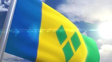 wehende Flagge des Heiligen Vincent und der Grenadinenanimation video