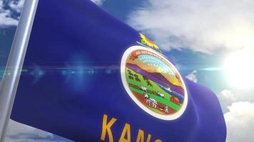agitando bandeira do estado de kansas eua