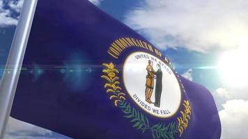 agitando bandeira do estado de kentucky eua