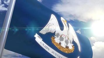 agitando bandeira do estado da louisiana eua