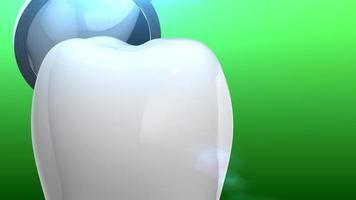 dente e ferramenta odontológica em animação 3D com fundo verde