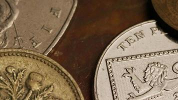 giro stock footage shot de moedas monetárias internacionais - dinheiro 0367