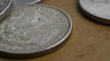 Imágenes de archivo giratorias tomadas de monedas americanas antiguas - dinero 0092