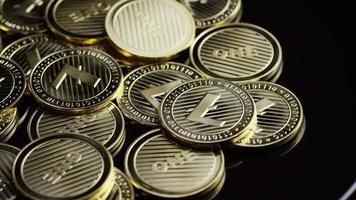 Rotating shot of Bitcoins (digital cryptocurrency) - BITCOIN LITECOIN 313