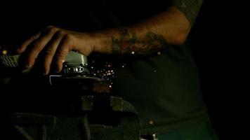 Sparks with angle grinder in ultra slow motion (1,500 fps) - ANGLE GRINDER PHANTOM 010 video
