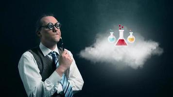 gracioso nerd o geek mirando a una nube voladora con un icono de química giratoria