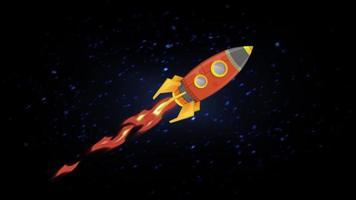 foguete voando pelo loop de animação espacial video