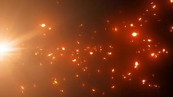 Fondo de partículas de luz abstracta que fluye lazo