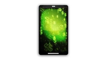 Smartphone Device With Dollars Background