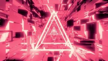 wireframe brilhante com túnel espacial scifi video