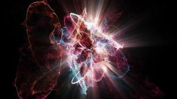 las partículas atómicas chocan, giran y brillan video