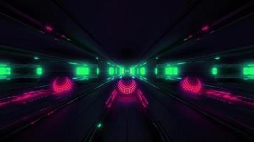 esfera brilhante vermelha dentro de um túnel espacial video