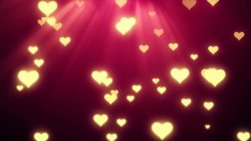 corações amarelos com raios de luz video