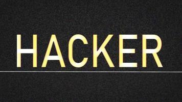 hacker de palavras em fundo estático de tv video