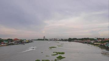 Time Lapse Of Boat Traffic In The Chao Phraya River