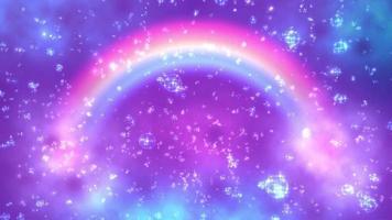 un arco iris brillante sobre un fondo morado