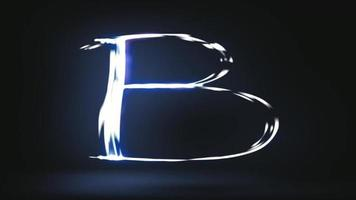 Light painting the alphabet in a black background