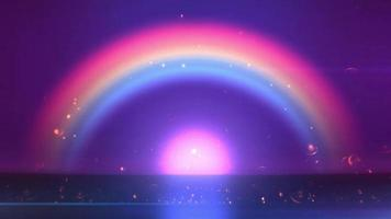 A beautiful shiny rainbow above a bright purplish light in purple background